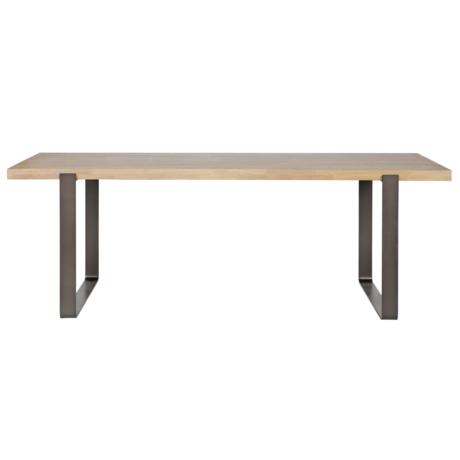 LEF collections Table à manger Jamie brun en bois de chêne non traité 180x90cm