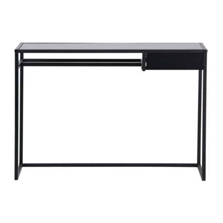 LEF collections Desk Teun with drawer black metal 110x50x76cm