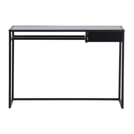 LEF collections Schreibtisch Teun mit Schublade aus schwarzem Metall 110x50x76cm