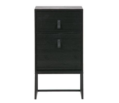 LEF collections Nachttisch Zola mit Schublade und Tür tiefschwarzem Holz 40x35x74cm