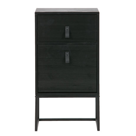 LEF collections Bedside table Zola with drawer and door deep black wood 40x35x74cm