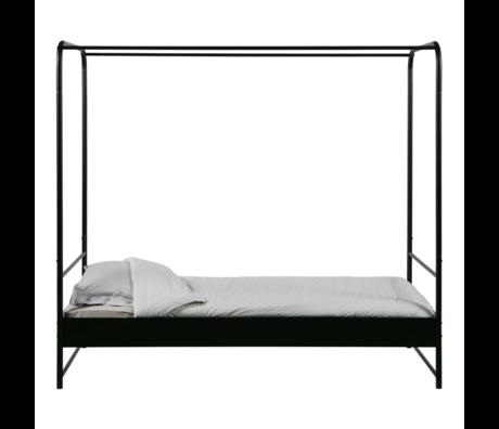 vtwonen lit à baldaquin superposé métal noir 206x95x190cm