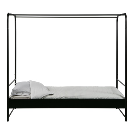 vtwonen canopy bed bunk black metal 206x95x190cm