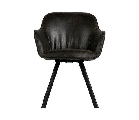 LEF collections Eetkamerstoel Viggo  zwart pu leer 58x60x81cm