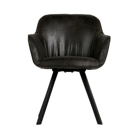 LEF collections Chaise de salle à manger Viggo en cuir noir 58x60x81cm