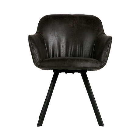 LEF collections Dining room chair Viggo black pu leather 58x60x81cm