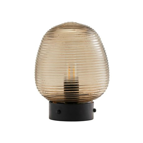 Housedoctor Tafellamp Ghia bruin glas metaal Ø18,5x24cm