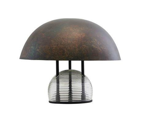 Housedoctor Tischlampe Umbra antikes braunes Glas Metall Ø43x35cm