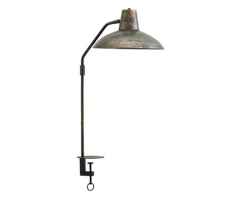 Housedoctor Table lamp Desk antique brown iron Ø31x70cm
