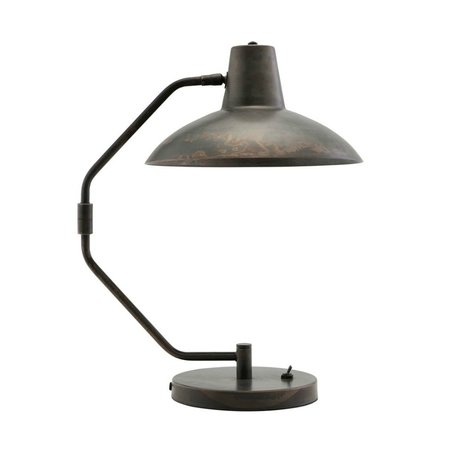 Housedoctor Table lamp Desk antique brown iron Ø31x48cm