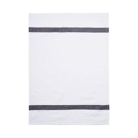 Housedoctor Torchon Nila coton blanc gris 70x50cm