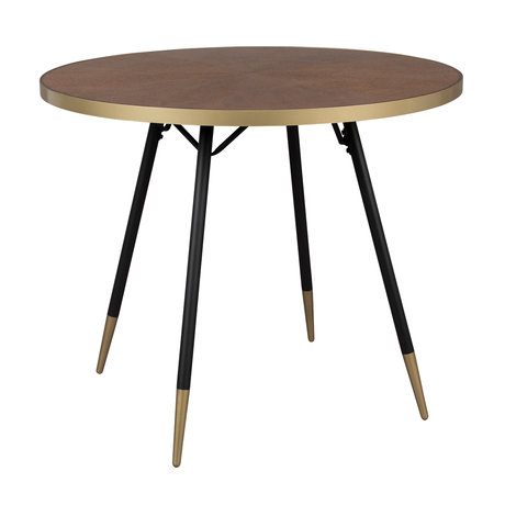 LEF collections Table à manger Buenos Aires ronde Ø91x75cm bois brun