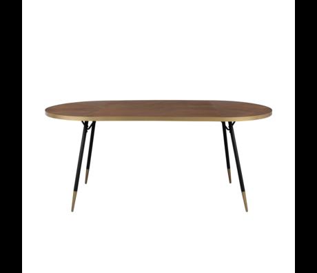 LEF collections Table à manger Buenos Aires ovale en bois brun 90x180x75cm