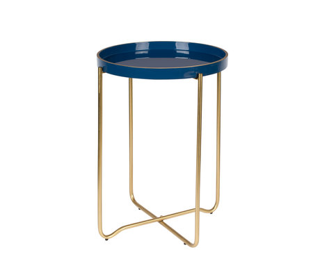 LEF collections Side table Madrid Dark blue metal Ø55x42cm