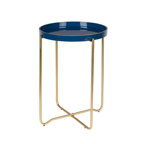 LEF collections Table d'appoint Madrid Ø55x42cm en métal bleu foncé