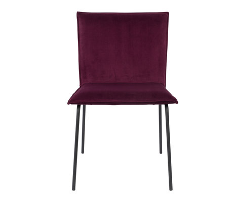 LEF collections Dining room chair Poona wine red velvet 54x56x83cm
