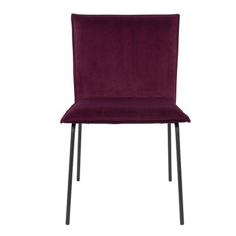 LEF collections Chaise de salle à manger Poona vin rouge velours 54x56x83cm
