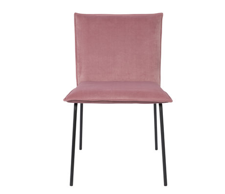 LEF collections Chaise de salle à manger Poona velours rose 54x56x83cm