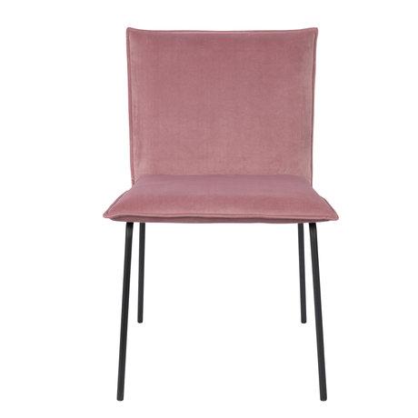 LEF collections Eetkamerstoel Poona roze velvet 54x56x83cm