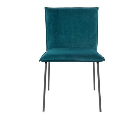LEF collections Chaise de salle à manger Poona velours bleu pétrole 54x56x83cm