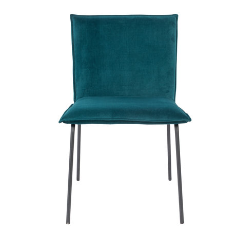 LEF collections Dining room chair Poona petrol blue velvet 54x56x83cm