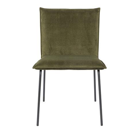 LEF collections Chaise de salle à manger Poona velours vert olive 54x56x83cm