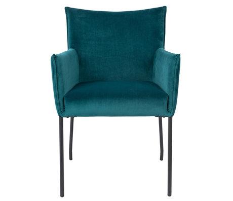 LEF collections Chaise de salle à manger Casablanca en velours bleu pétrole 59x64x86,5 cm