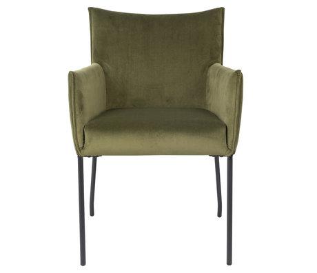 LEF collections Chaise de salle à manger Casablanca velours vert olive 59x64x86,5 cm
