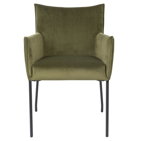 LEF collections Dining room chair Casablanca olive green velvet 59x64x86.5 cm