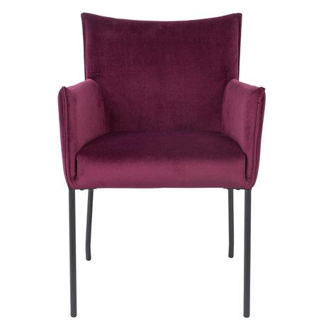 LEF collections Chaise de salle à manger Casablanca vin velours rouge 59x64x86.5 cm