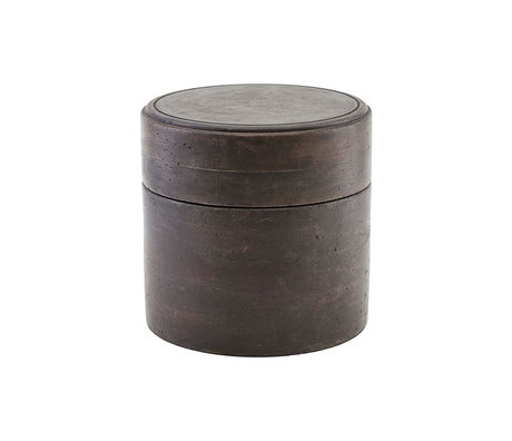Housedoctor Storage jar Kango dark brown wood Ø18x18cm