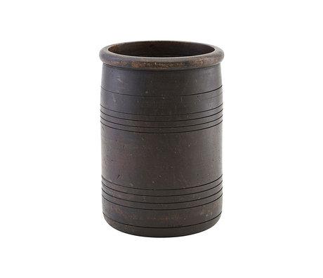 Housedoctor Voorraadpot Kango donker bruin hout Ø15x22cm
