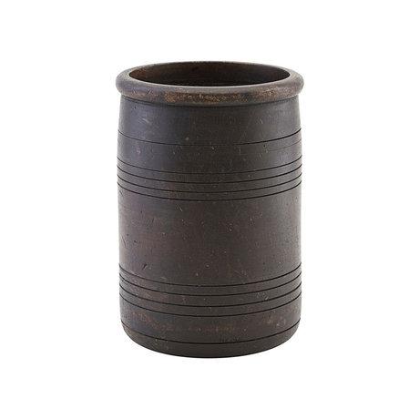 Housedoctor Storage jar Kango dark brown wood Ø15x22cm