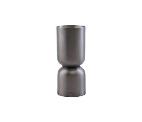 Housedoctor Maatbekertje Grunge zilver metaal 8,5cm