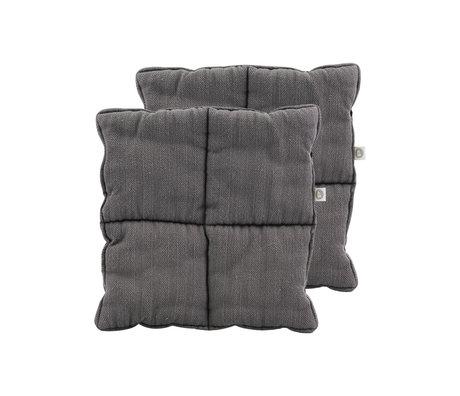 Housedoctor Maniques Grandpa textile gris lot de 2 24x24cm