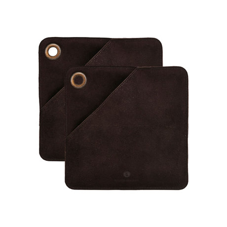Housedoctor Maniques Cercle en cuir marron foncé 20.5x20.5cm