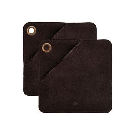 Housedoctor Potholders Circle dark brown leather 20.5x20.5cm