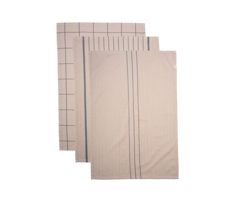 Housedoctor Geschirrtuch Opa sandbraun Baumwolle 3er Set