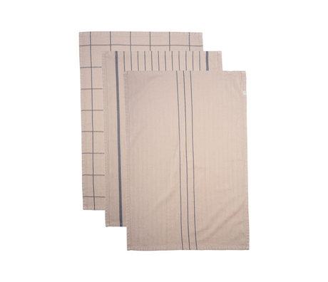 Housedoctor Tea towel Grandpa sand brown cotton set of 3