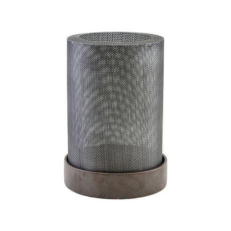Housedoctor Lantern Bash antique silver steel ceramic L Ø20x27,5cm