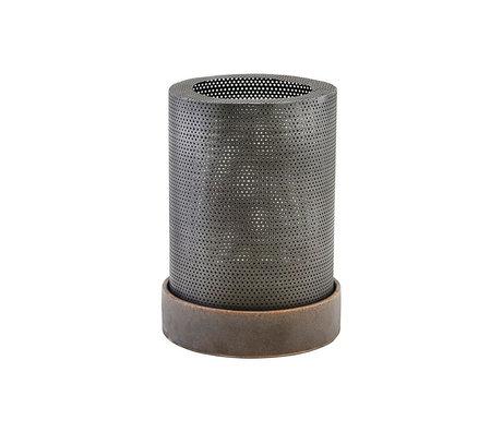 Housedoctor Lantern Bash antique silver steel ceramic S Ø17,5x13cm