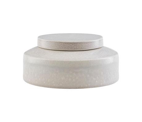 Housedoctor Boîte de rangement Kala en céramique gris clair Ø15.5x7.5cm