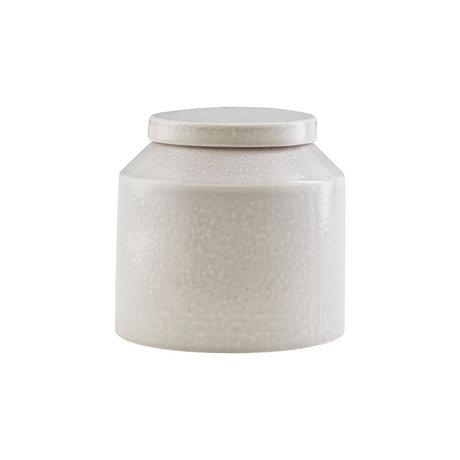Housedoctor Storage box Kala light gray ceramic Ø11.5x11.5cm
