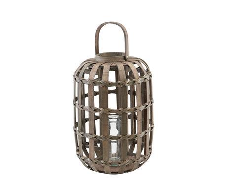 Housedoctor Lantaarn Knots donker bruin glas hout Ø33x50cm