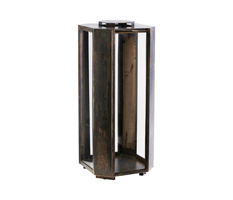 Housedoctor Lantern Baazi antique brown glass iron 20x20x48.5cm