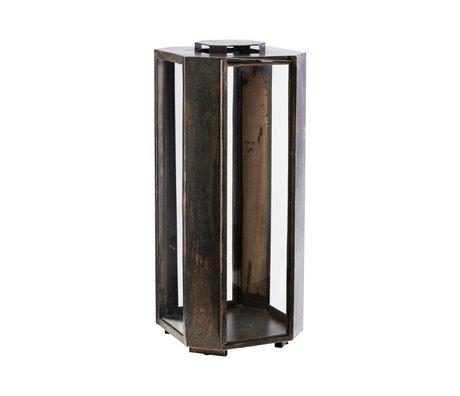 Housedoctor Lanterne Baazi fer brun antique 20x20x48.5cm
