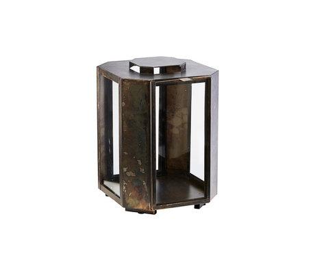 Housedoctor Lantern Baazi antique brown glass iron 20x20x28.5cm