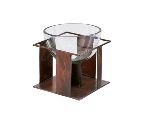 Housedoctor Schüssel Schwerkraft antikes braunes Glas Eisen Ø14x14cm
