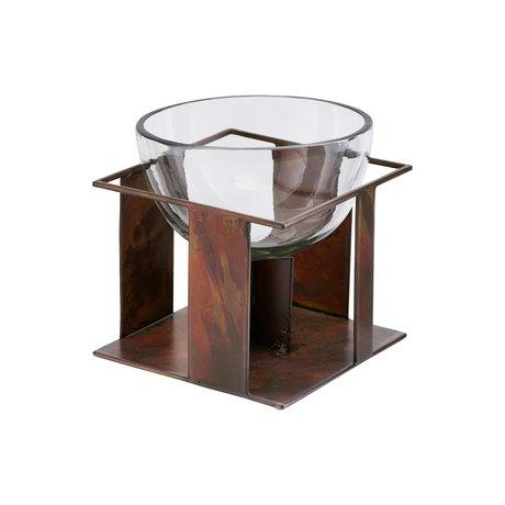 Housedoctor Schaal Gravity antiek bruin glas ijzer Ø14x14cm
