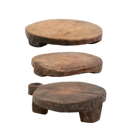 Housedoctor Tablett Chaklota braun Holz 3er Set Ø20x5cm